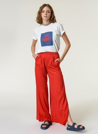 NGSTYLE NGSTYLE YırtmaÇ Detaylı Bol PaÇalı Kadın Pantolon Kırmızı